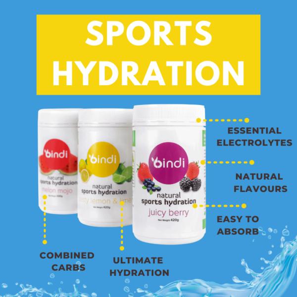 three tubs of sports hydration