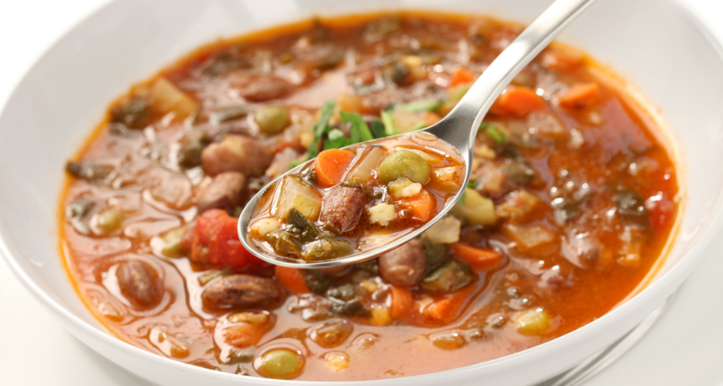 minestrone soup on a bowl